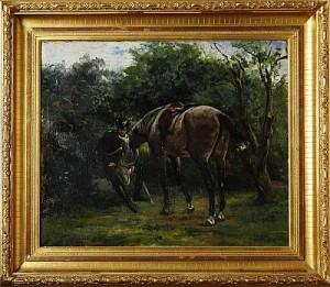 Landskap Med Kavallerist Som Utfodrar Sin Häst by Georg ARSENIUS