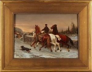 Vintermotiv Med Hästar by Arvid Fredrik LÖNNROTH