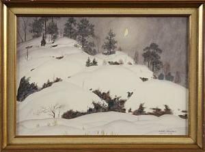 Månsken över Vinterlandskap by Oskar BERGMAN