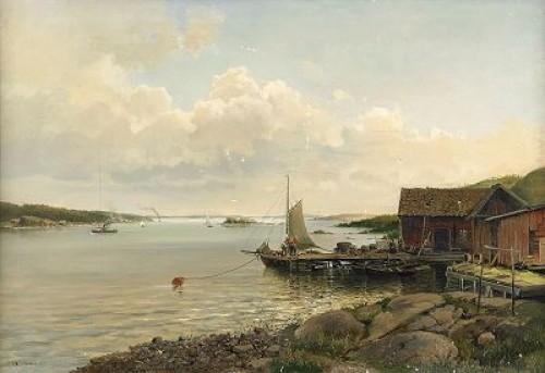 Kustlandskap Med Båtar Och Byggnader Vid Brygga by Josefina HOLMLUND