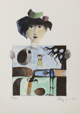 Kvinna Med Tavla by Stig LINDBERG