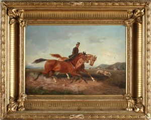 Jaktmotiv Föreställande Man På Häst Med Hund by John ARSENIUS