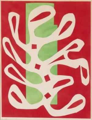 Algue Blanc Sur Fond Rouge Et Vert by Henri MATISSE