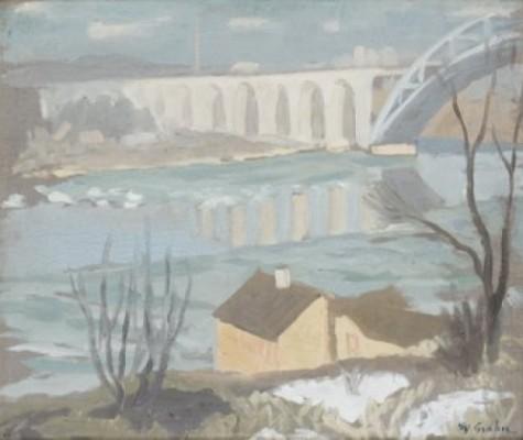 I Snösmältningen, årstabron by Hjalmar GRAHN