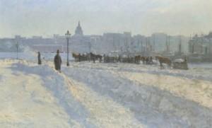 Stockholm Från Blasieholmen Om Vintern by Alfred BERGSTRÖM