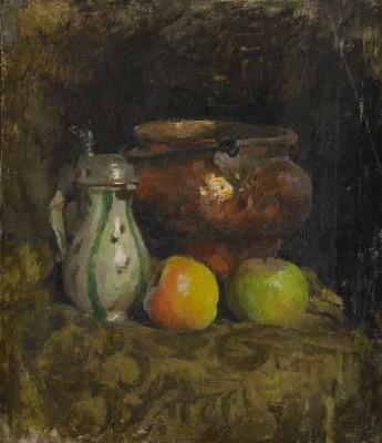 Stilleben Med Kopparhink, Stop Och äpplen by Esther KJERNER