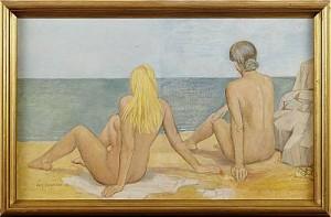 Flickor På Strand by Eric NORDLÖW