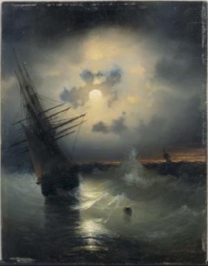 Segelschiff Auf Hoher See Bei Mondschein by Ivan Konstantinovich AIVAZOVSKY