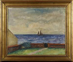 Strandbild Med Segelbåt by Martin ÅBERG