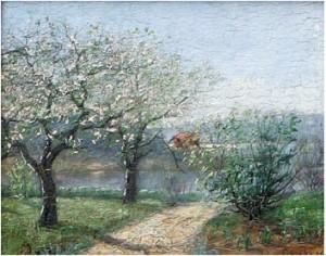 Vårlandskap Med Sjö Samt Blommande Fruktträd by Ida GISIKO SPÄRCK