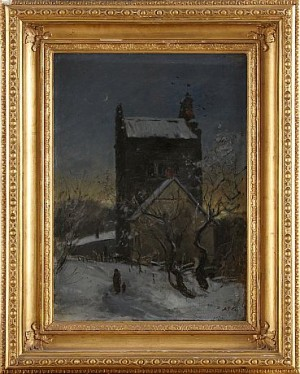 Kyrka I Vinterskymning by Albert Theodor GELLERSTEDT