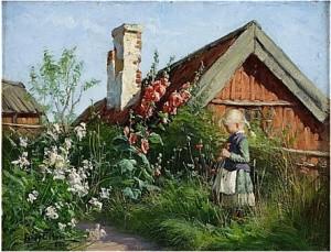 Flicka I Blommande Trädgård Med Stockrosor Och Vallmo by Fanny BRATE