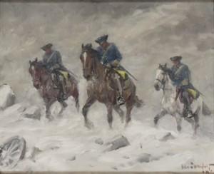 Ridande Karoliner I Snöstorm by Alexander 'Alex' LANGLET