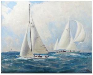 Segelbåtar Utanför Landsort. by Herman HÄGG