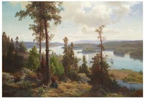 Insjölandskap Med Rastande Kvinna by Edward BERGH