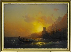 Sunset Over The Great Lavra - Mount Athos by Ivan Konstantinovich AIVAZOVSKY