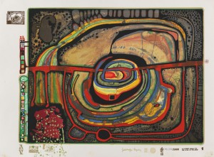 Regentag Mappe. The Portfolio Comprising 10 Silkscreen In Colors With Metal Embossings by Friedensreich HUNDERTWASSER