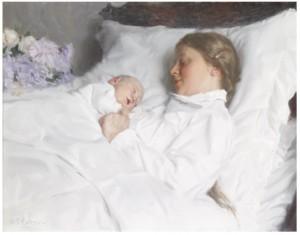 Mor Och Barn, Sannolikt Konstnärens Hustru Emelie Och Sonen Carl Gustaf by Emil ÖSTERMAN
