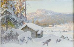 Insnöade Fäbodar (motiv Från Dalarnes älvdalen) by Anshelm SCHULTZBERG