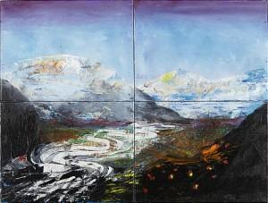 Floden I-iv, 4 Samramade Målningar by Johan PETTERSON