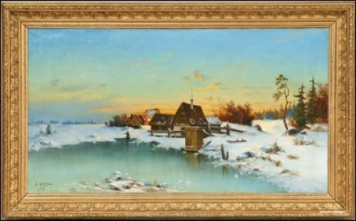 Solnedgång I Vinterlandskap by Leonard WIEDH