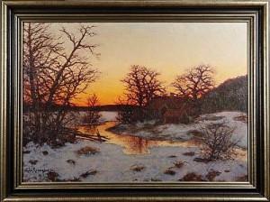 Aftonrodnad över Insjölandskap by Edvard ROSENBERG