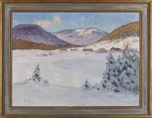 Norrländskt Vinterlandskap by Anton GENBERG