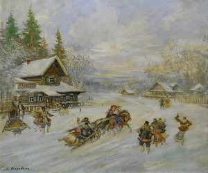 Peasants Dancing As A Horse Drawn Sleigh Goes Through Town by Konstantin Alexeievich KOROVIN