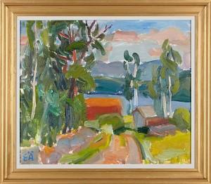 Landskap Med Lador by Erling ÄRLINGSSON