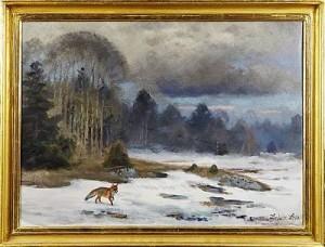 Räv I Vinterlandskap by Lindorm LILJEFORS