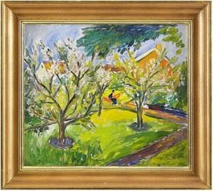 Kvinna I Hängmatta Bland Blommande äppelträd by Ivan IVARSON
