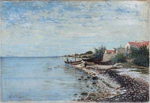 Strand Med Fiskebåtar by Hjalmar TRAFVENFELT