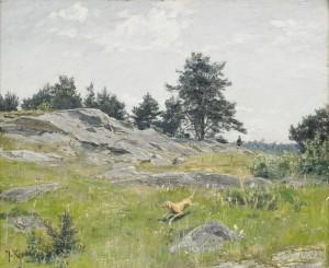 Sommarlandskap Med Jägare Och Hund by Johan KROUTHÉN