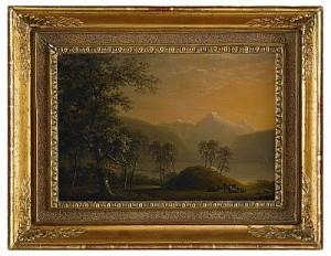 Solbelyst Fjordlandskap Med Kreatur by Carl Johan FAHLCRANTZ