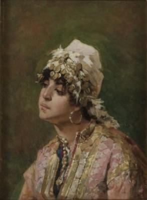 Kvinna I Sydländsk Dräkt by Agnes BÖRJESSON