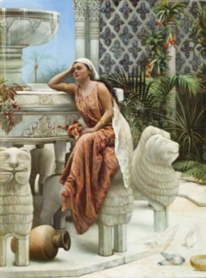 Restful Moment By The Lion Fountain At The Alhambra, Spain by Margaret Murray COOKESLEY