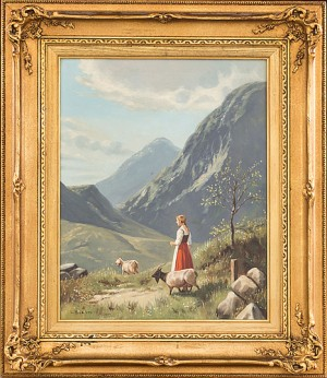 Kvinna Med Getter I Alplandskap by Niels WALSETH