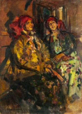 Two Russian Women In Traditional Costumes by Konstantin Alexeievich KOROVIN