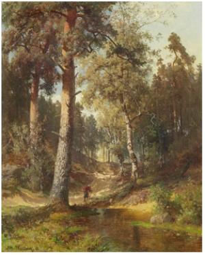 Skogslandskap Med Ensam Vandrare by Alfred WAHLBERG