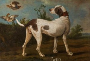 The Pointer 'bello' In A Landscape by Jean-Baptiste OUDRY