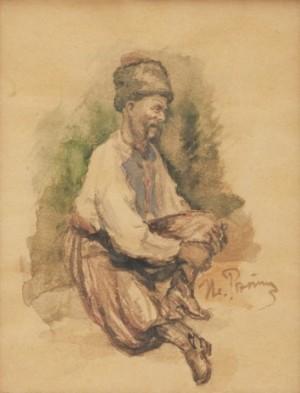 A Sitting Cossack by Ilya Efimovich REPIN