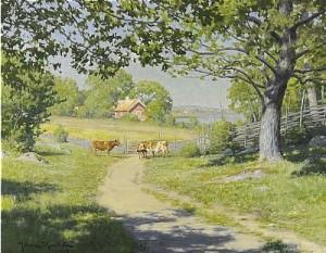 Landskap Med Kor by Johan KROUTHÉN