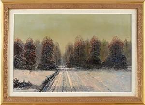 Vinterlandskap I Skymning by Wiktor KORECKI