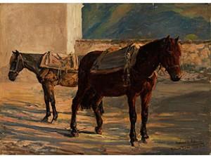 Zwei Gesattelte Pferde Vor Einem Mauerstück by Richard Benno ADAM
