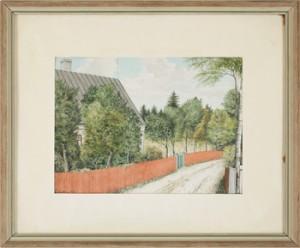 Hus Omgivet Av Lövträd Samt Omgärdat Av Rödmålat Staket Vid Landsväg by Frans LINDBERG
