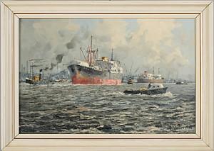 Hamnmotiv Med Fraktfartyg by Marinus Johannes De JONGERE