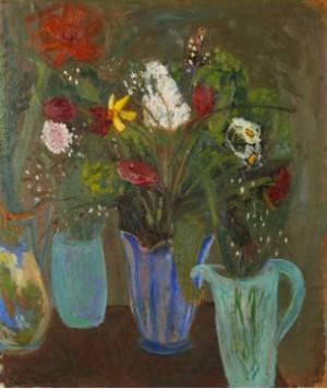 Stilleben Med Blommor I Vaser by Karin PARROW