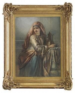Palatsinteriör Med Orientalisk Kvinna by Egron LUNDGREN