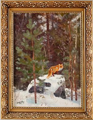 Räv I Vinterlandskap by Harald WIBERG