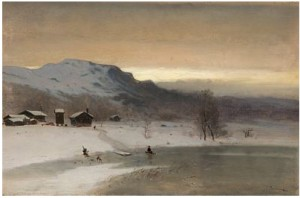 Vinterlandskap Med Gutt På Kjelke by Peder Cappelen THURMANN
